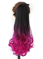 Long Wave Purple Ombre Synthetic Ponytail