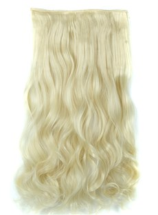 613# Long Wave One Piece Clip In Hair Extension 24 Inches Synthetic Materical