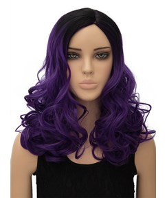 Purple Long Wavy Capless Synthetic Hair Wig 18 Inches for Cosplay