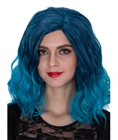 Blue Medium Wavy Capless Synthetic Hair Cosplay Wig 14 Inches