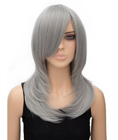 Dark Grey Long Straight Synthetic Hair Wig for Cosplay