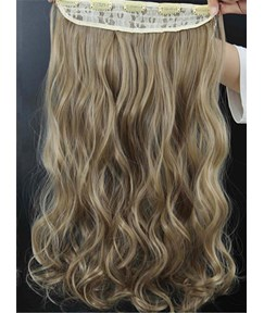 16M18T Mix Color Long Wave One Piece Clip In Hair Extension 24 Inches
