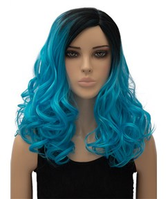 Blue Long Wavy Capless Synthetic Hair Wig for Cosplay 18 Inches