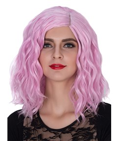 Pink Medium Wavy Capless Synthetic Hair Wig 14 Inches for Cosplay