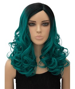 Unique Colored Long Wavy Capless Synthetic Hair Cosplay Wig 18 Inches