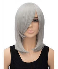 Silvery Medium Straight Synthetic Hair Wig for Cosplay 14 Inches