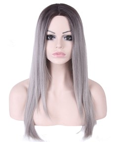 Granny Long Straight 26 Inches Synthetic Capless Women Wigs
