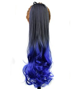 Long Wave Blue Ombre Synthetic Lace up Ponytail 22 Inches