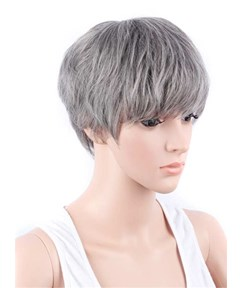 Boy Cut Hairstyle Synthetic Capless Granny Women Wigs