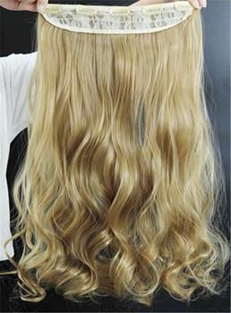 22T Blonde Long Wave One Piece Synthetic Clip In Hair Extension 24 Inches