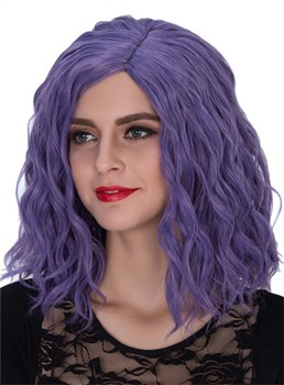 Purple Medium Wavy Capless Synthetic Hair Wig 14 Inches for Cosplay