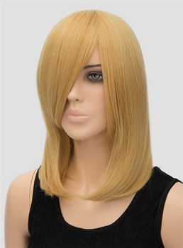 Medium Straight Capless Synthetic Hair Wig 14 Inches for Cosplay