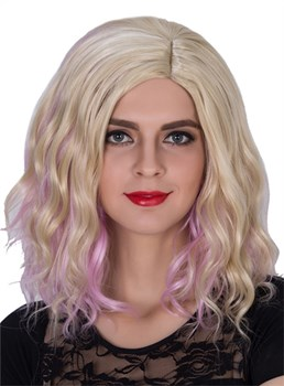 Colored Medium Wavy Capless Synthetic Hair Wig 14 Inches