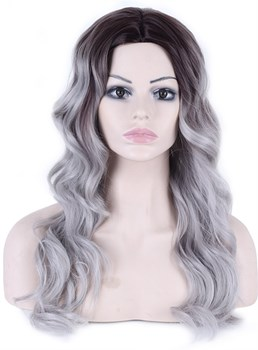Long Body Wave Synthetic Capless Granny Women Wigs 26 Inches