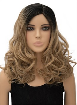 Elegant Long Wavy Capless Synthetic Hair Cosplay Wig 18 Inches