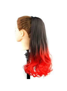 Long Wave Red Ombre Synthetic Lace up Ponytail 22 Inches