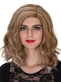 Mixed Color Medium Wavy Capless Synthetic Hair Wig 14 Inches