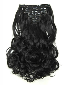 Natural Black Long Wave Synthetic 7 PCs Clip In Hair Extensions 24 Inches