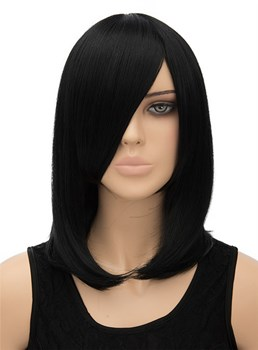 Graceful Medium Straight Capless Synthetic Hair Cosplay Wig 14 Inches