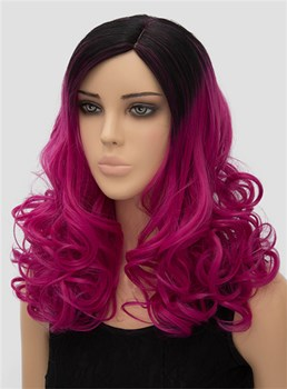 Colored Long Wavy Capless Synthetic Hair Cosplay Wig 18 Inches