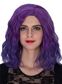 Purple Medium Wavy Capless Synthetic Hair Cosplay Wig 14 Inches