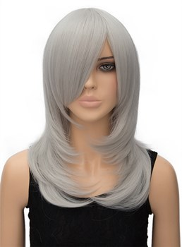 Silvery Long Straight Synthetic Hair Wig for Cosplay