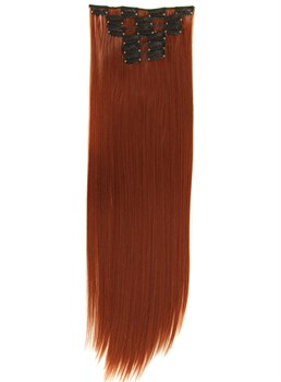 Red straight Clip In Synthetic Hair Extensions 7 PCS 24 Inches