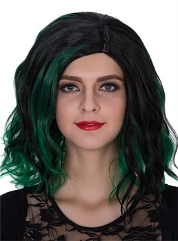 Mixed Color Medium Wavy Capless Synthetic Hair Cosplay Wig 14 Inches