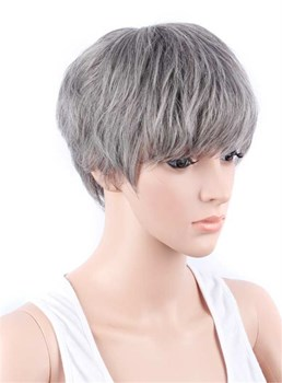 Salt and Pepper Boy Cut Hairstyle Synthetic Capless Granny Women Wigs