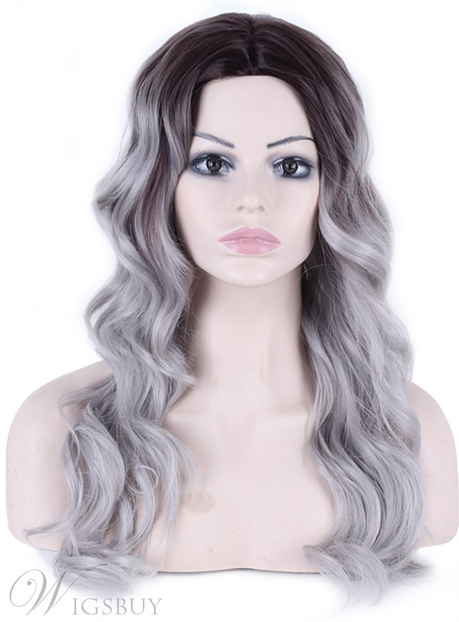 Long Body Wave Synthetic Capless Granny Women Wigs 26 Inches 12423642