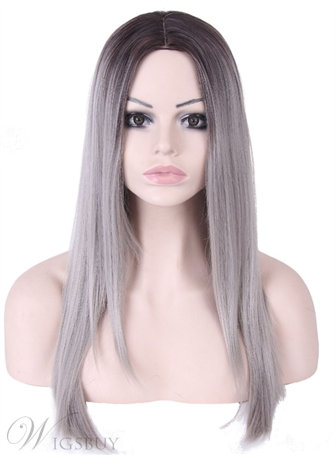Granny Long Straight 26 Inches Synthetic Capless Women Wigs 12423643