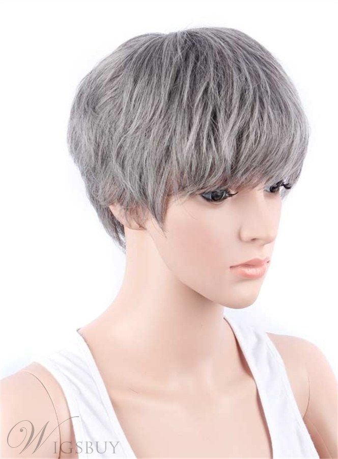 Boy Cut Hairstyle Synthetic Capless Granny Women Wigs 12423645