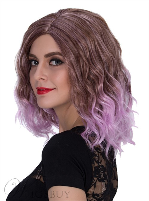 Pink Meidum Wavy Capless Synthetic Hair Wig 14 Inches for Cosplay