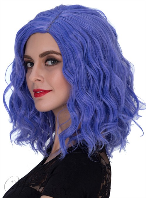 Unique Purple Medium Wavy Capless Synthetic Hair Cosplay Wig 14 Inches