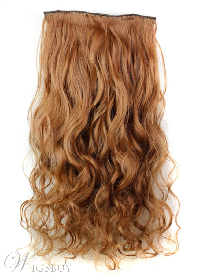 Brown Color Long Wave One Piece Synthetic Clip In Hair Extension 24