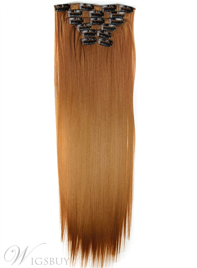 Light Brown Long Straight Clip In Synthetic Hair Extensions 6 Pcs 24