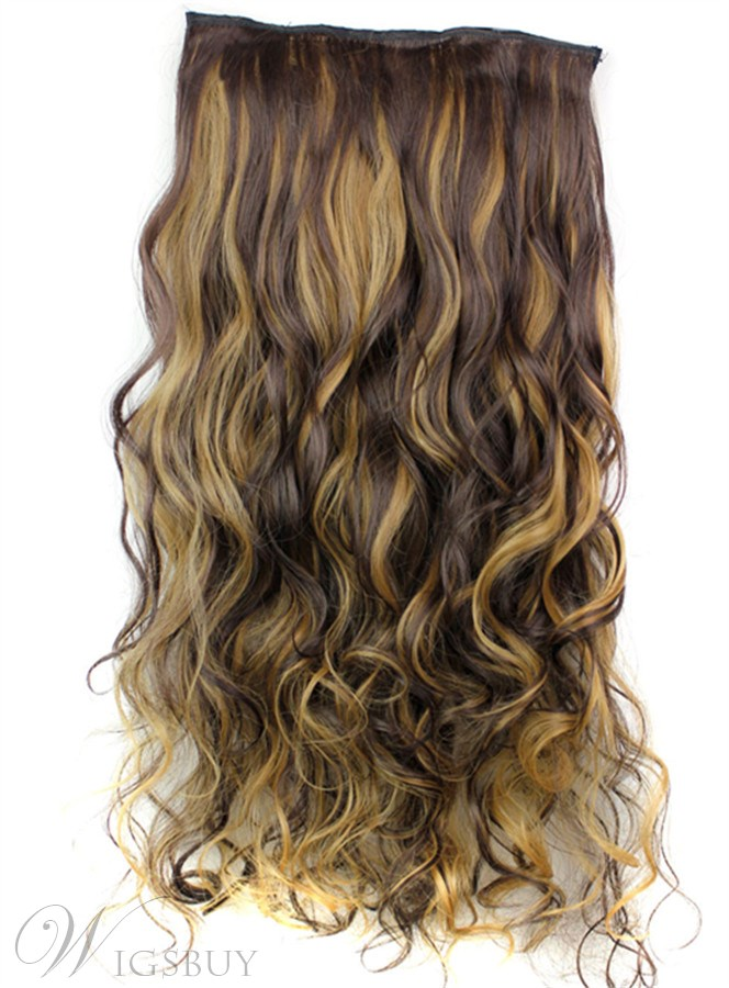 4h27 Long Wave Synthetic One Piece Clip In Hair Extension 24 Inches