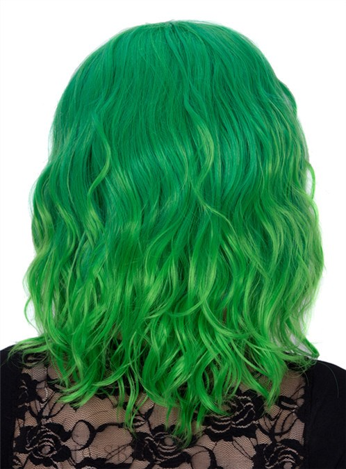 Green Medium Wavy Capless Synthetic Hair Wig 14 Inches for Cosplay