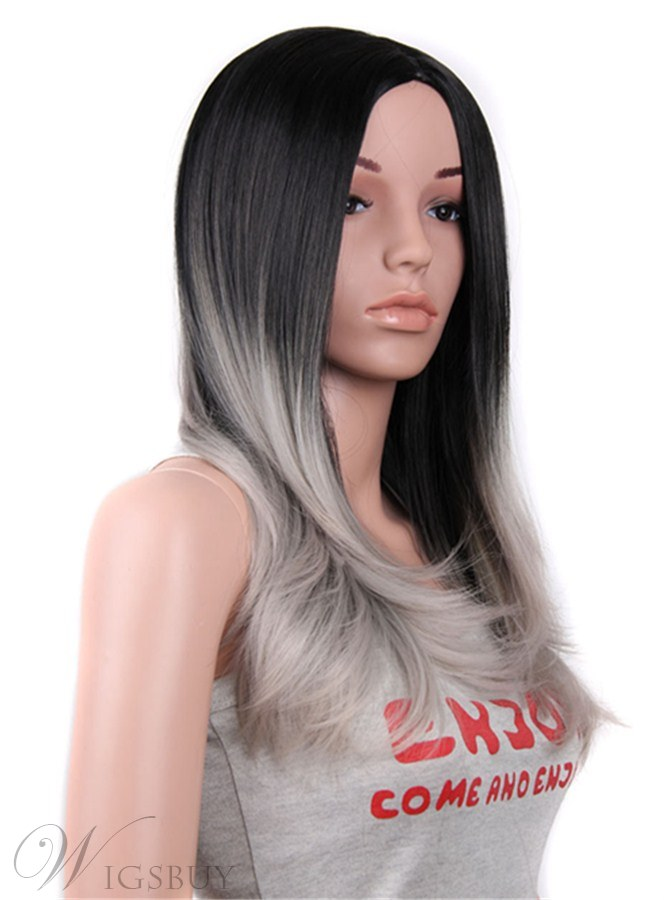 Long Straight Granny Synthetic Capless Women Wigs 26 Inches