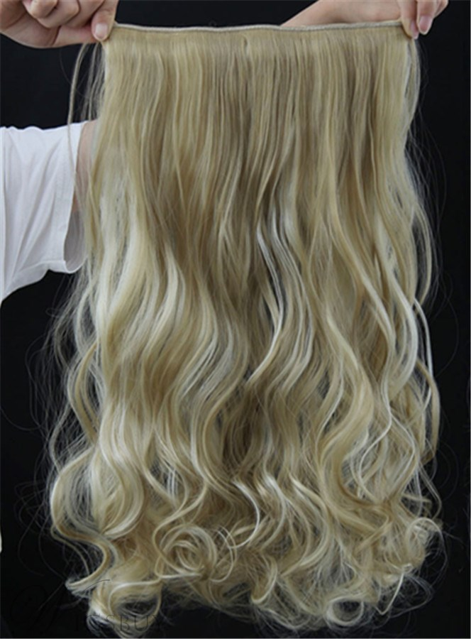 Mix Color 24h613 Long Wave One Piece Synthetic Clip In Hair
