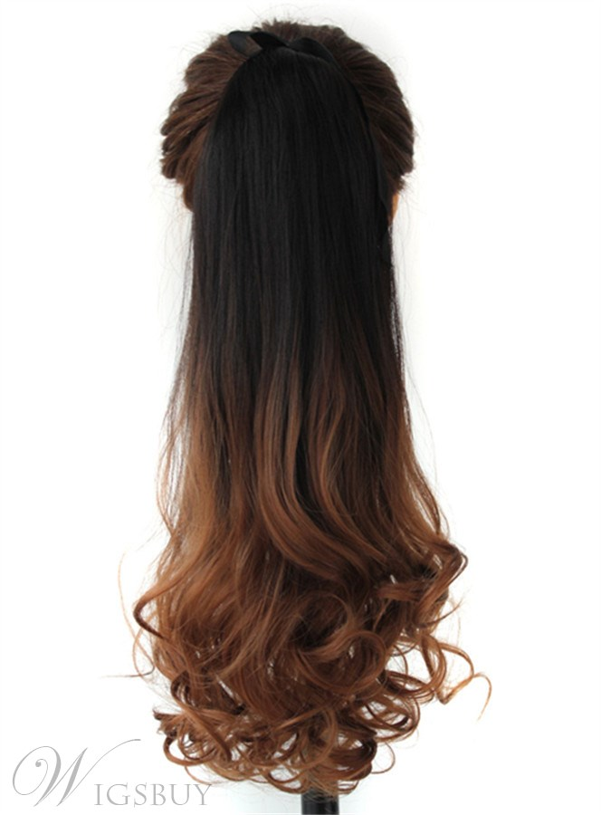 Long Wave Dark Brown Ombre Synthetic Ponytail Lace Up 22 Inches
