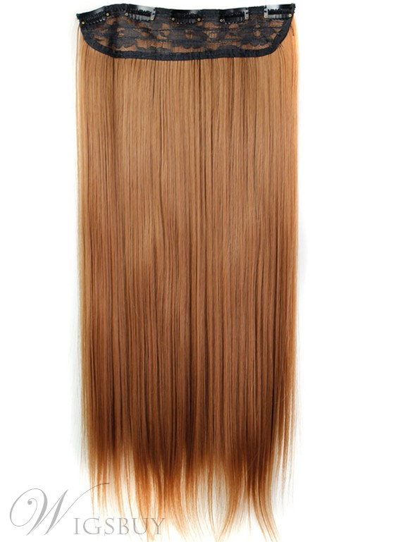 Long Straight Synthetic One Piece Clip In Hair Extensions 24 Inches