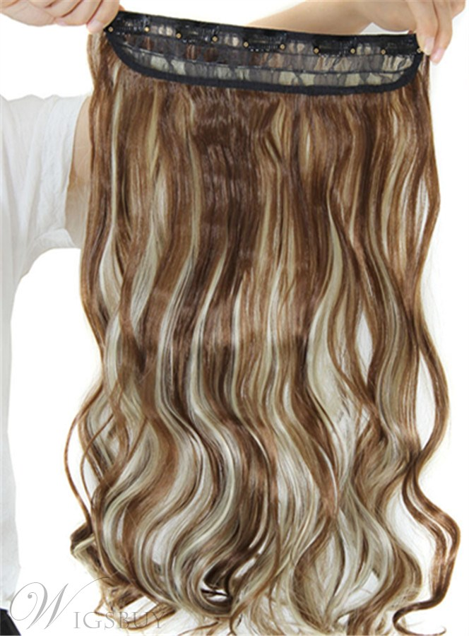 12h613 Mix Color Synthetic One Piece Clip In Hair Extension 24