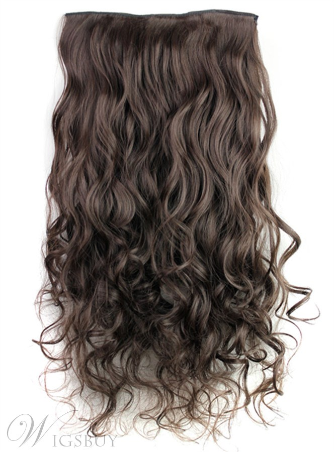 4# Long Wave Synthetic One Piece Clip In Hair Extension 24 Inches