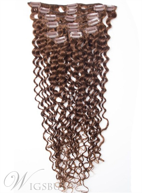 Kinky Curly Human Hair Clip In Hair Extensions 7 PCS