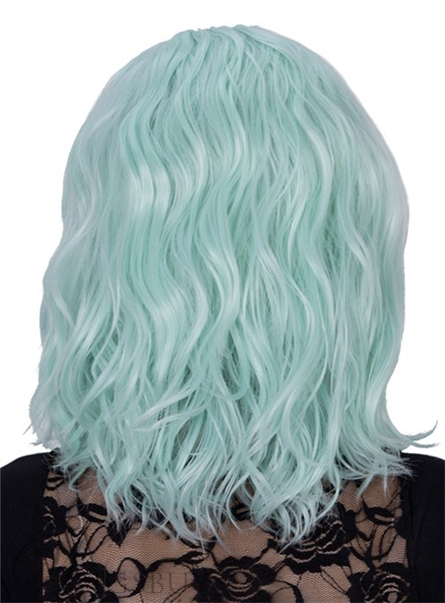 Light Blue Medium Wavy Capless Synthetic Hair Cosplay Wig 14 Inches