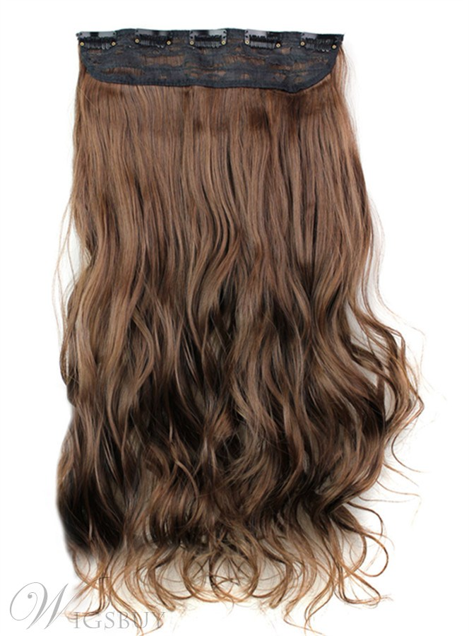 430 Long Wave Synthetic One Piece Clip In Hair Extension 24 Inches