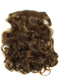Light Brown Wavy Clip In Synthetic Hair Extensions 7 PCs 24 Inches