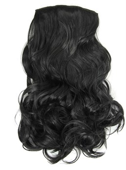Long Body Wave Black Synthetic Clip In Hair Extension 24 Inches