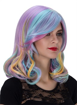 Colored Medium Wavy Capless Synthetic Hair Wig 14 Inches for Cosplay